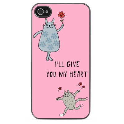 Чехол для iPhone Cats with flowers