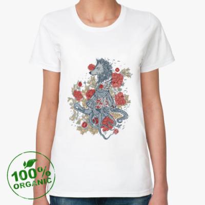 Женская футболка из органик-хлопка Волк-девушка-осьминог