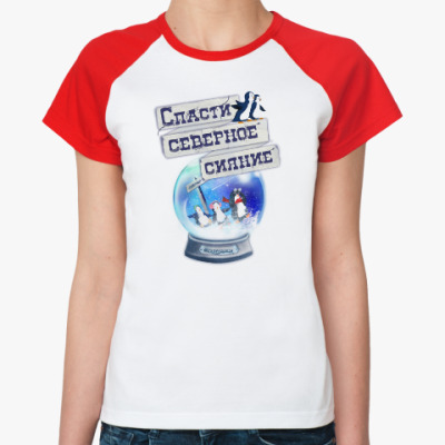 Женская футболка реглан Елка на воде