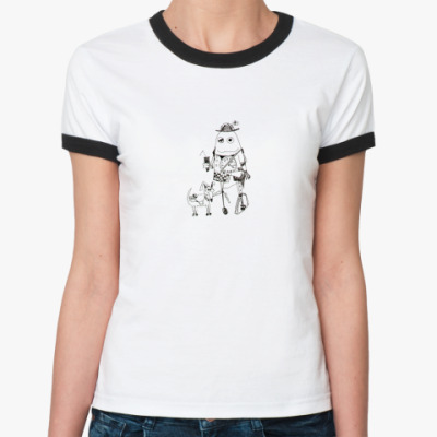 Женская футболка Ringer-T  'гот милк'