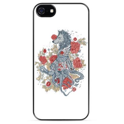 Чехол для iPhone Волк-девушка-осьминог
