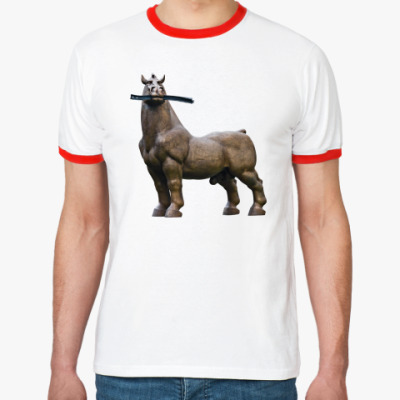 Футболка Ringer-T Конь жует рельсу