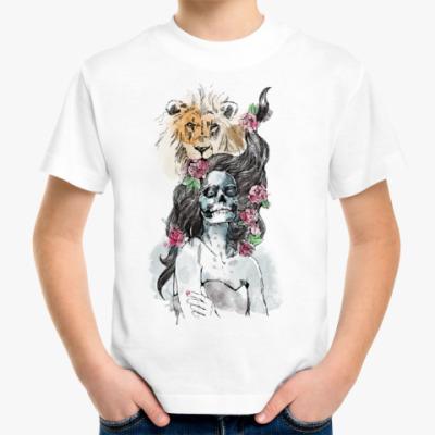 Детская футболка Девушка-Лев-Череп
