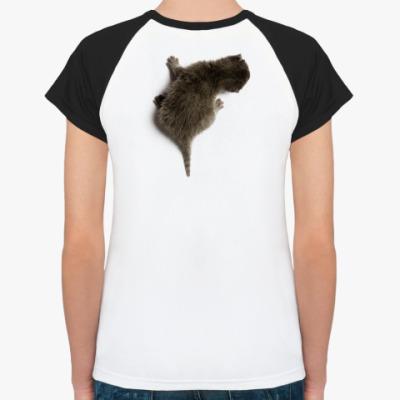Женская футболка реглан Котенок карабкается по спине
