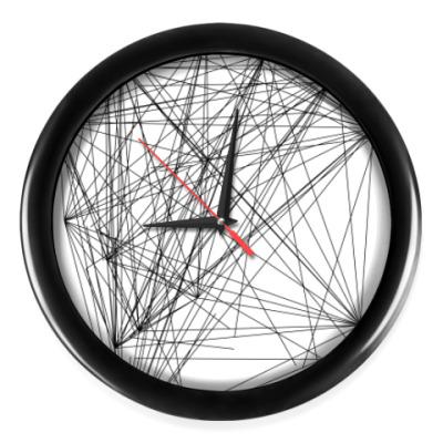 Настенные часы линейная абстракция с черным оботком
