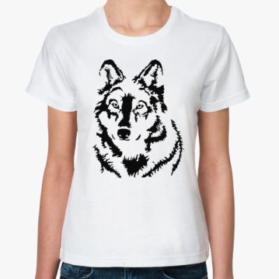 Классическая футболка Белый волк
