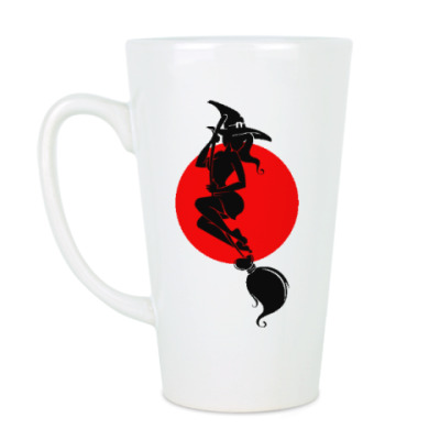 Чашка Латте Ведьма на фоне луны
