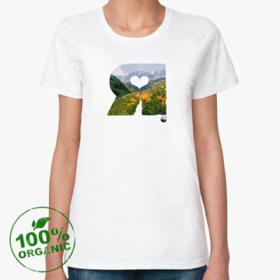 Женская футболка из органик-хлопка WWF. Я - это Горы и цветы!
