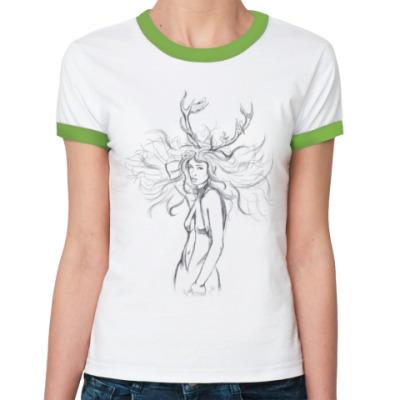 Женская футболка Ringer-T Oh, my deer!