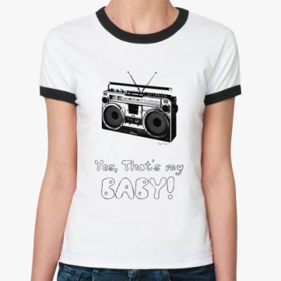 Женская футболка Ringer-T  Магнитофон