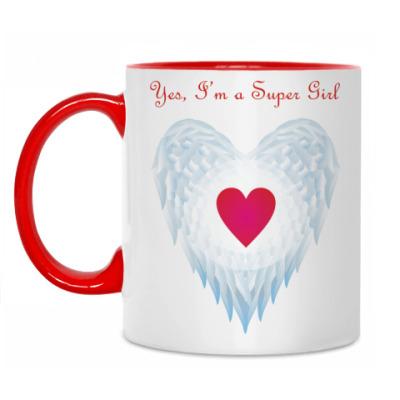 Кружка Yes, I'm a Super Girl. Крылья