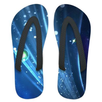 Шлепанцы (сланцы) Синие и голубые полосы