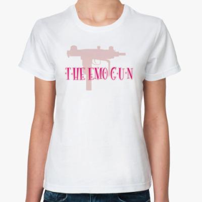 Классическая футболка  'The emo gun'