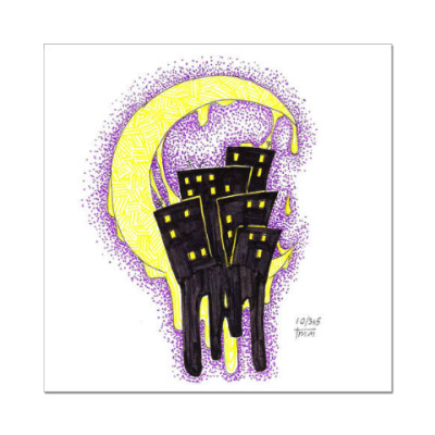 Наклейка (стикер) Ночь