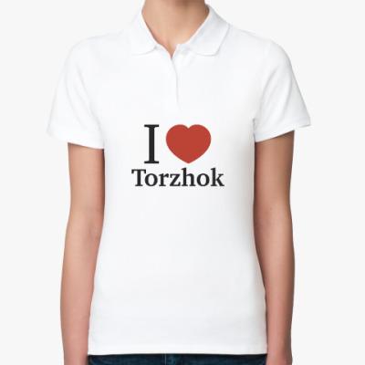 Женская рубашка поло Я люблю Торжок