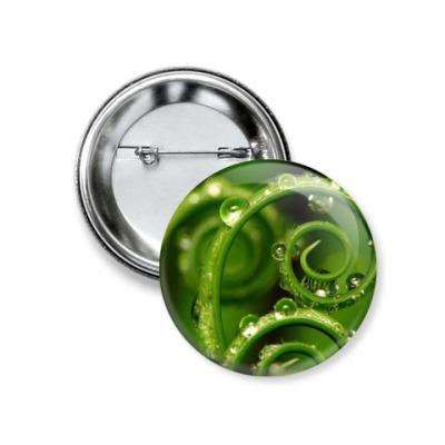 Значок 37мм Зеленые завитушки