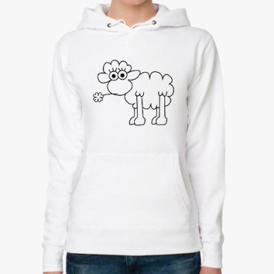 Женская толстовка худи Овца с клевером