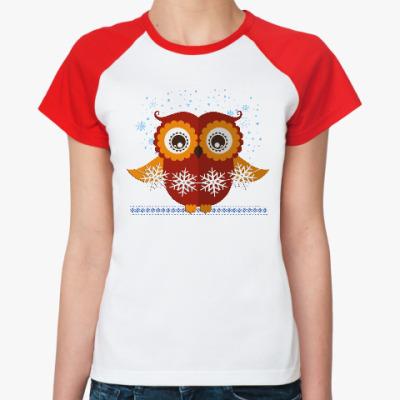 Женская футболка реглан Сова со снежинками