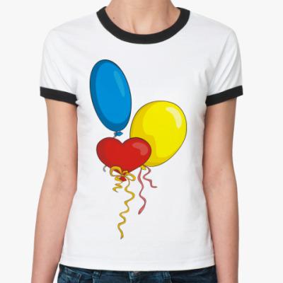 Женская футболка Ringer-T Воздушные шарики