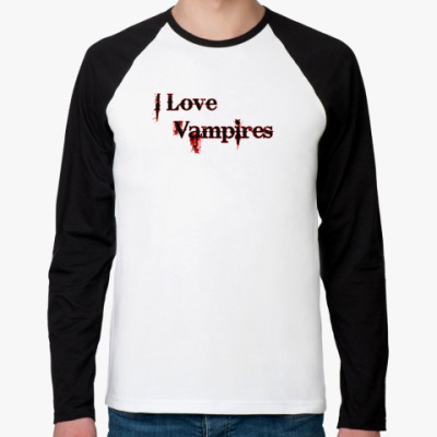 Футболка реглан с длинным рукавом I love vampires