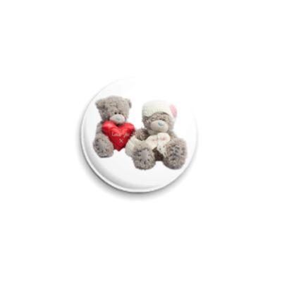 Значок 25мм  Мишки Тедди