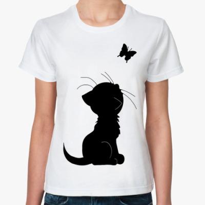 Классическая футболка кот и бабочка