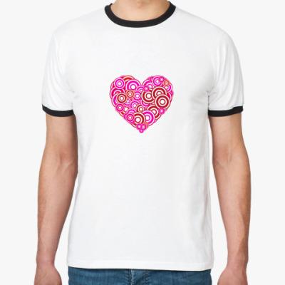 Футболка Ringer-T Сердце-круги