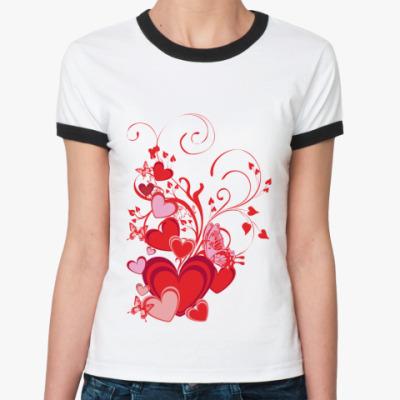 Женская футболка Ringer-T Сердечки и бабочки