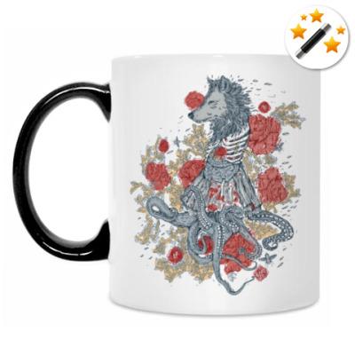 Кружка-хамелеон Волк-девушка-осьминог