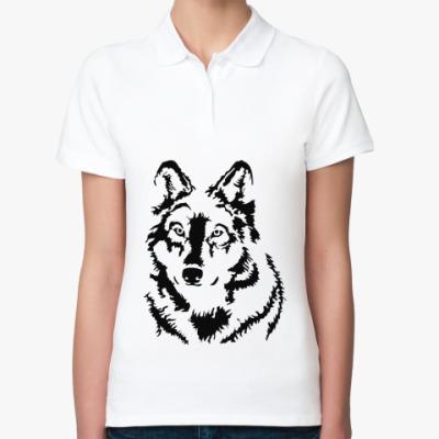 Женская рубашка поло Белый волк