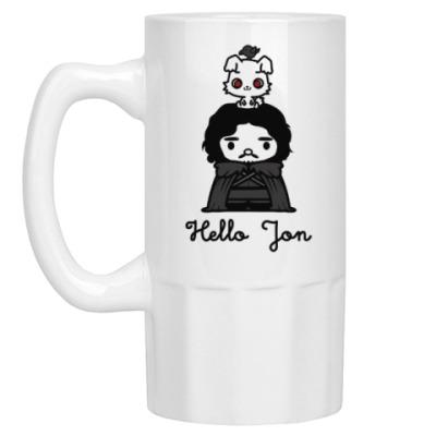 Пивная кружка Hello Jon