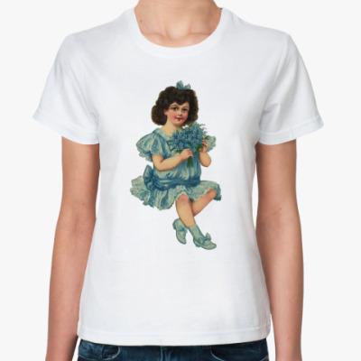 Классическая футболка `Девочка с букетом`