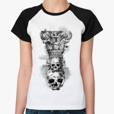 Женская футболка реглан Череп-колонна