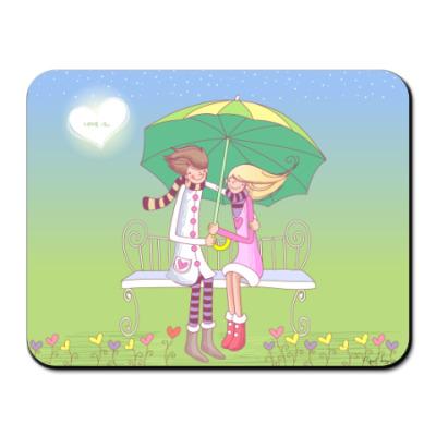Коврик для мыши Коврик Любовь под зонтом