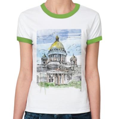 Женская футболка Ringer-T Исаакиевский собор . Питер
