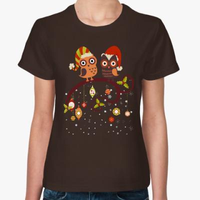 Женская футболка Две совы зимой