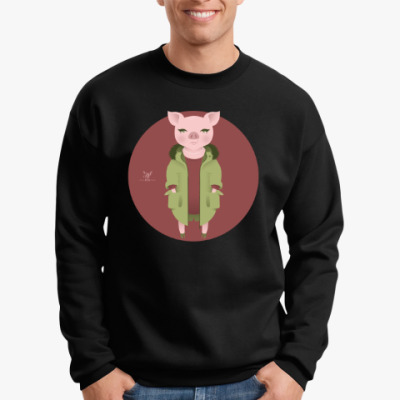 Свитшот  Animal Fashion: P is for Pig in parka