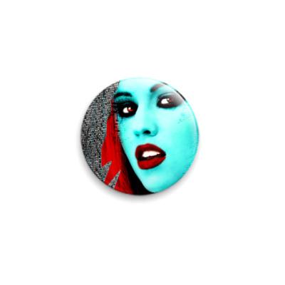 Значок 25мм  25 мм girl face blu