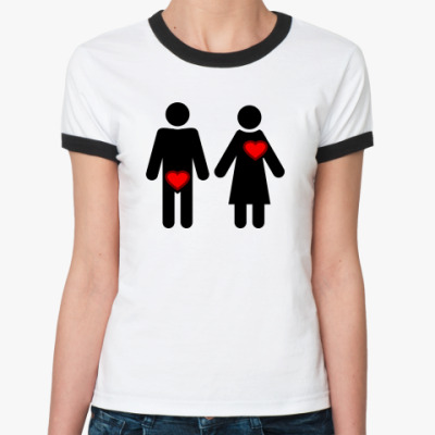 Женская футболка Ringer-T Мужчина и женщина