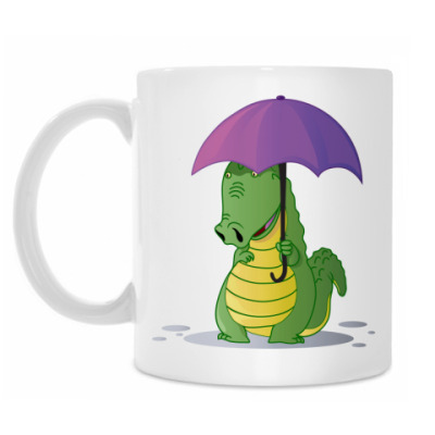 Кружка Крокодильчик с зонтиком