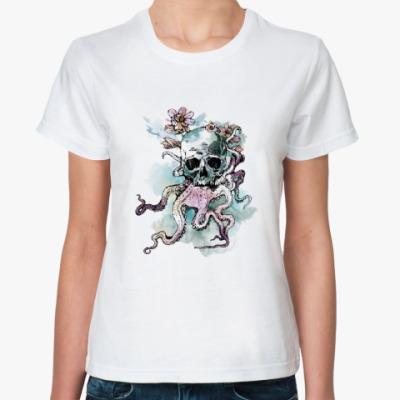 Классическая футболка Череп-кальмар