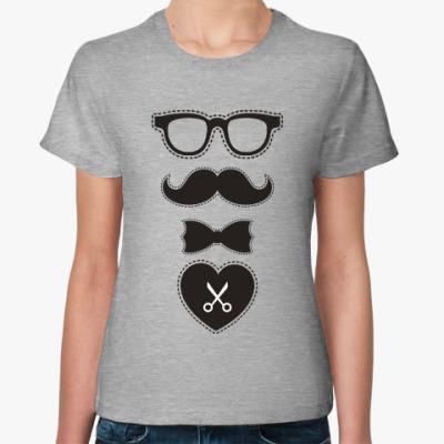 Женская футболка Усы. Борода. Mustache. Beard.