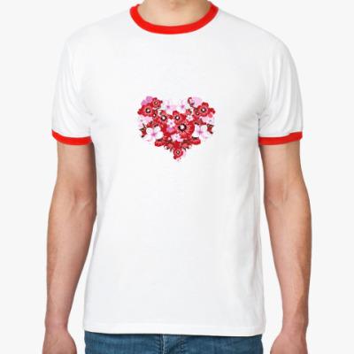 Футболка Ringer-T Цветочное сердце