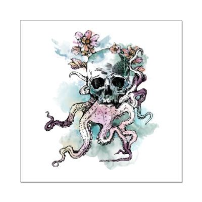 Наклейка (стикер) Череп-кальмар