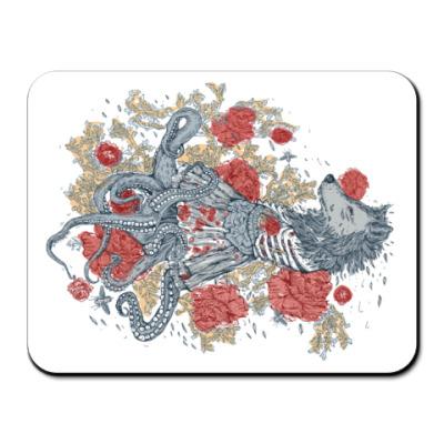 Коврик для мыши Волк-девушка-осьминог