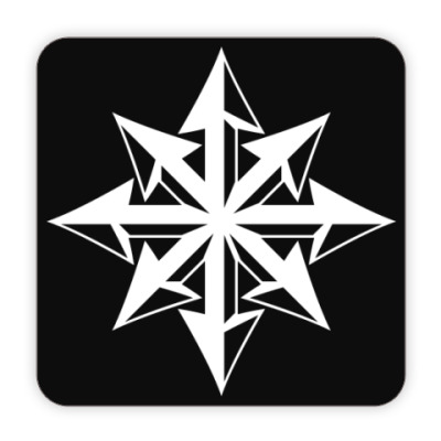 Костер (подставка под кружку) Хаос ч/б на чёрном фоне