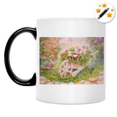 Кружка-хамелеон Тележка с цветами