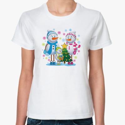 Классическая футболка Парные. Снеговик. Любовь. Зима