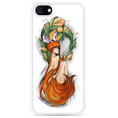 Чехол для iPhone Flower Redhaired girl/ Рыжеволосая