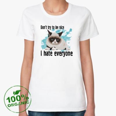 Женская футболка из органик-хлопка Угрюмый кот Тард